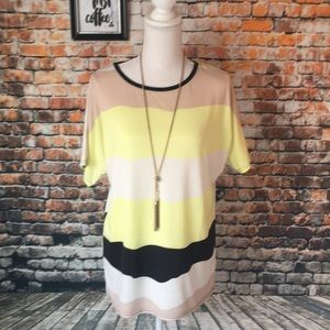 Tops - Yellow Tan and white striped poly blend blouse